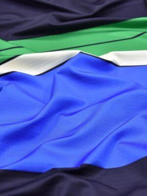 Трикотаж купон полоска синяя зеленая белая (3862) - Фото 17