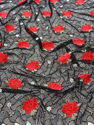 Кружево макраме красные розы на черном (3899) - Фото 11