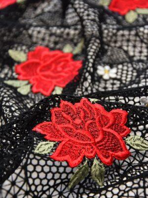 Кружево макраме красные розы на черном (3899) - Фото 12