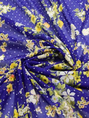 Креп шифон шелк стрейч желтые цветы мелкий горох на синем (3900) - Фото 12