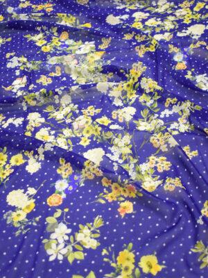 Креп шифон шелк стрейч желтые цветы мелкий горох на синем (3900) - Фото 11