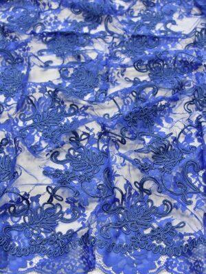 Кружево сутажное цветочный узор кант синий электрик (3908) - Фото 11