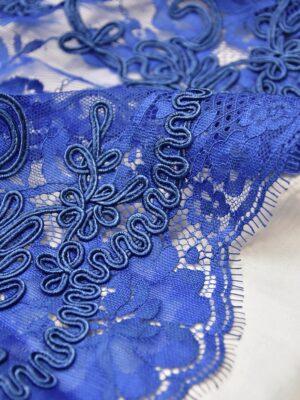 Кружево сутажное цветочный узор кант синий электрик (3908) - Фото 12