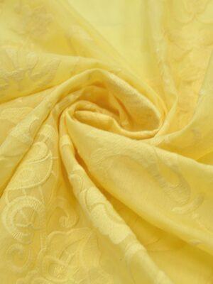 Батист с вышивкой цветочная кайма желтый (4006) - Фото 18