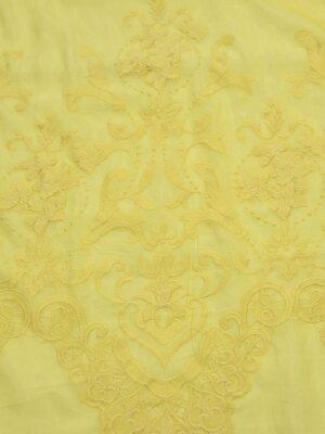 Батист с вышивкой цветочная кайма желтый (4006) - Фото 17