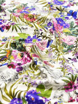 Хлопок стрейч белый яркие цветы птички бабочки (4027) - Фото 13