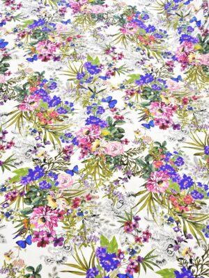 Хлопок стрейч белый яркие цветы птички бабочки (4027) - Фото 14