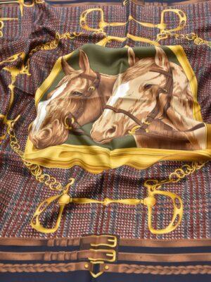 Платок шелковый скачки пололо лошади (4040) - Фото 20