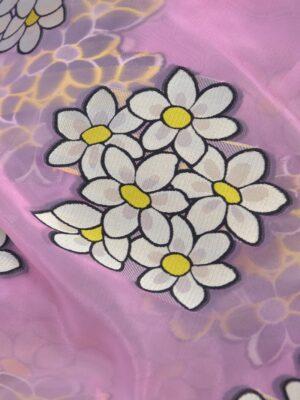 Органза с вышивкой филькупе ромашки на розовом (4115) - Фото 15