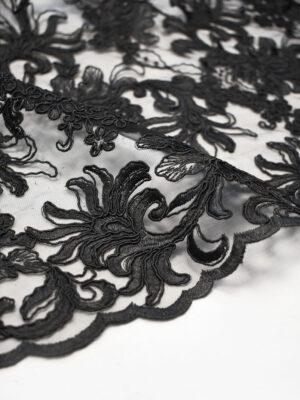 Кружево цветочный узор черное с фестонами (4124) - Фото 15