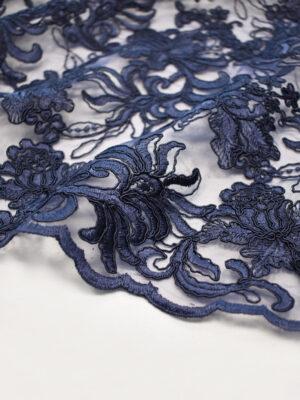 Кружево цветочная вышивка темно-синее с фестонами (4129) - Фото 18