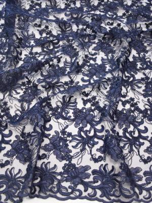 Кружево цветочная вышивка темно-синее с фестонами (4129) - Фото 17