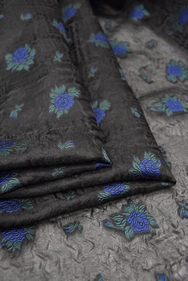 Органза шелк с вышивкой синий цветок на черном (4172) - Фото 9