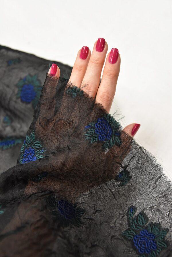 Органза шелк с вышивкой синий цветок на черном (4172) - Фото 11