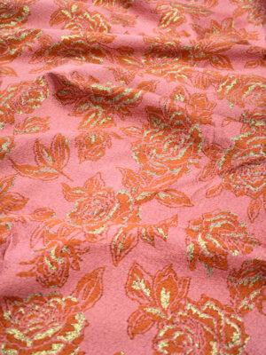 Жаккард розовый c коралловыми цветами и люрексом (4198) - Фото 13