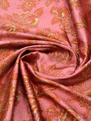 Жаккард розовый c коралловыми цветами и люрексом (4198) - Фото 14