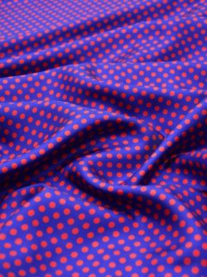 Шелк в красный горошек на синем (4203) - Фото 13