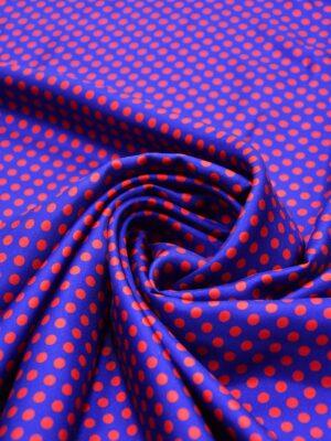Шелк в красный горошек на синем (4203) - Фото 14