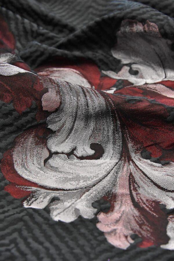 Жаккард купон серый в елочку цветочный бордюр (4215) - Фото 9