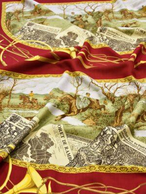 Шерсть купон платок в ретро стиле охота лошади бордовый (4222) - Фото 14