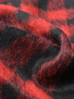 Мохер шерсть ворс красная с черным клетка (4242) - Фото 13