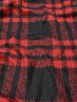 Мохер шерсть ворс красная с черным клетка (4242) - Фото 12