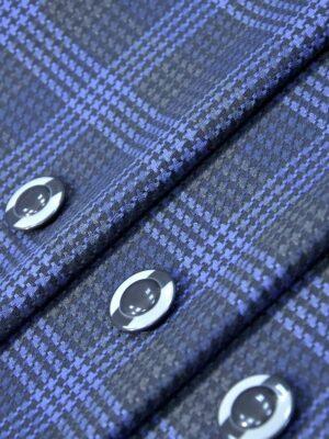 Костюмная клетка серая с синим (4248) - Фото 18