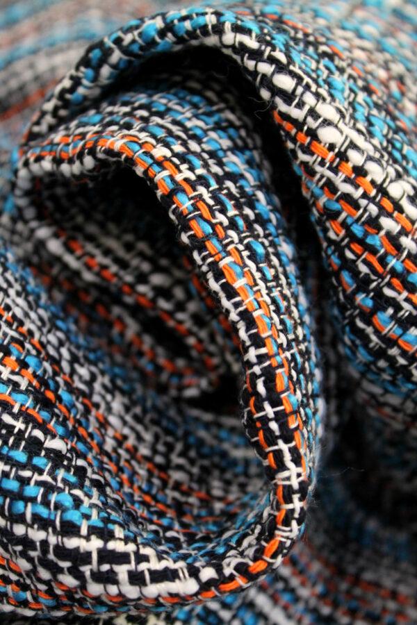 Твид хлопок голубой оранжевый (4266) - Фото 8