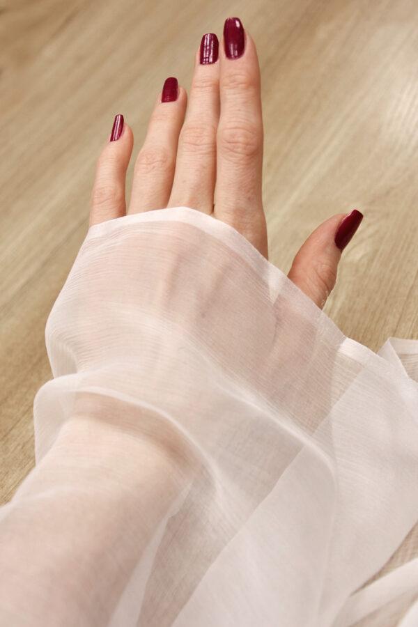 Шифон креш шелк  белый (4305) - Фото 7