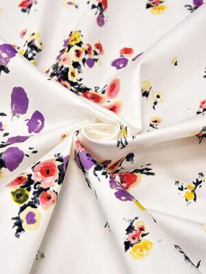 Хлопок стрейч с мелкими акварельными цветочками (4324) - Фото 18