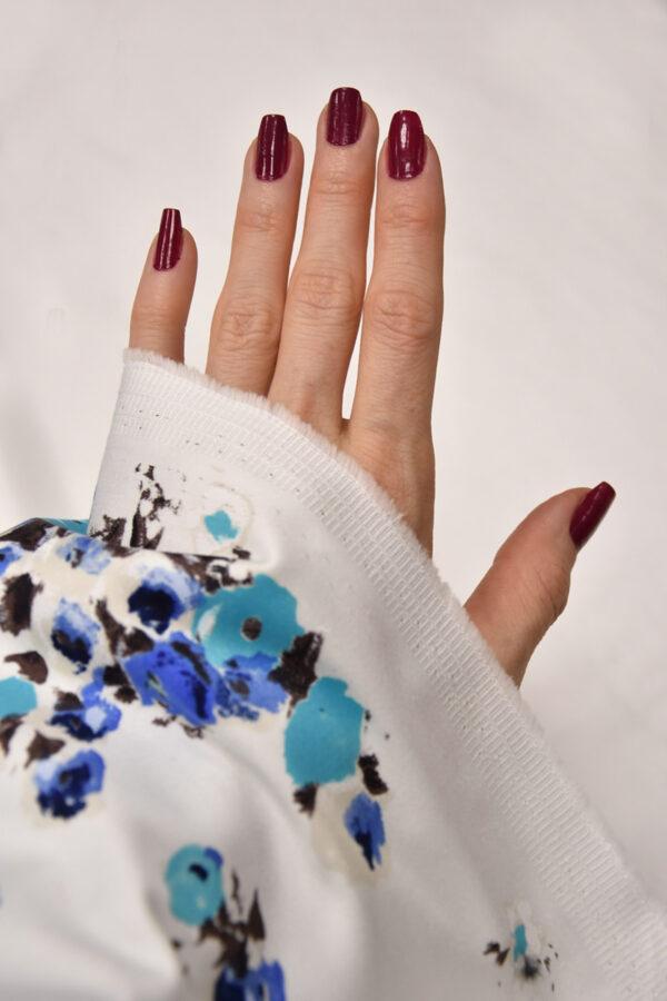 Хлопок стрейч рисунок голубые акварельные цветы (4333) - Фото 7