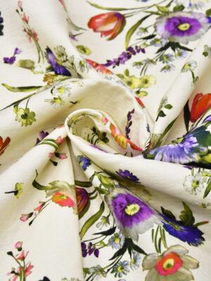 Хлопок матлассе с ярким цветочным принтом на светлом фоне (4334) - Фото 14
