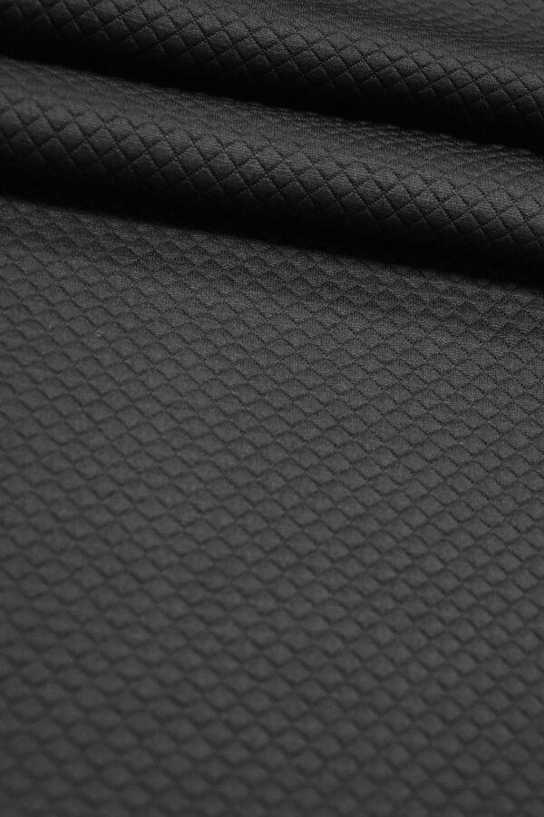 Джерси трикотаж черный в мелкий ромбик (4351) - Фото 9
