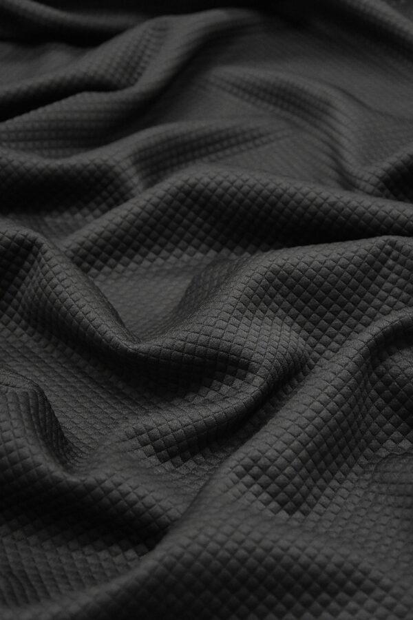 Джерси трикотаж черный в мелкий ромбик (4351) - Фото 6