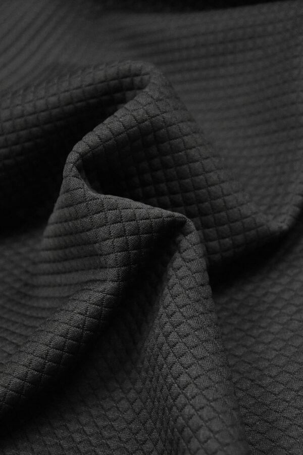 Джерси трикотаж черный в мелкий ромбик (4351) - Фото 8
