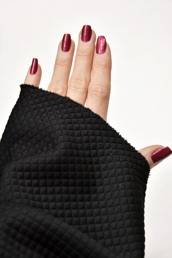 Джерси трикотаж черный в мелкий ромбик (4351) - Фото 7