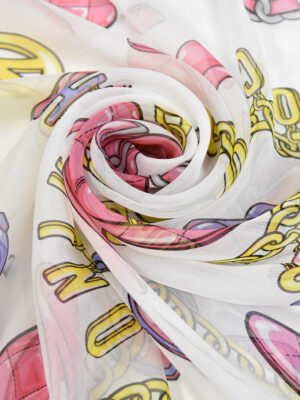 Шифон шелк цепи кепки очки смайлики на белом фоне (4384) - Фото 17