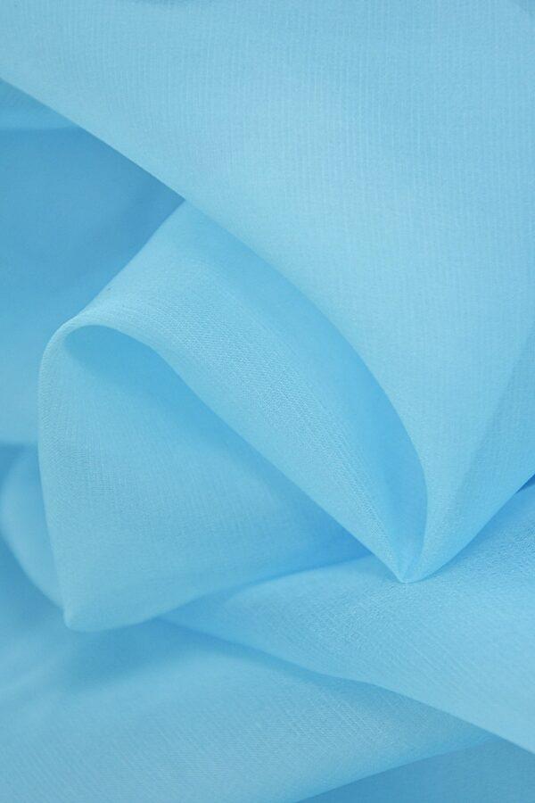 Органза шелк голубая (4418) - Фото 8