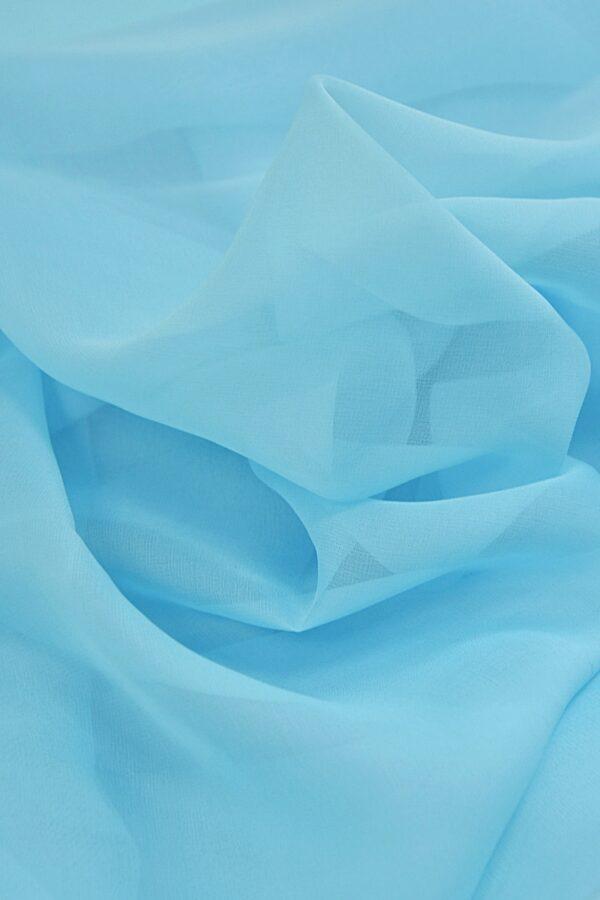 Органза шелк голубая (4418) - Фото 9