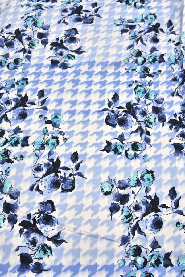 Хлопок стрейч цветы голубая куриная лапка (4460) - Фото 8