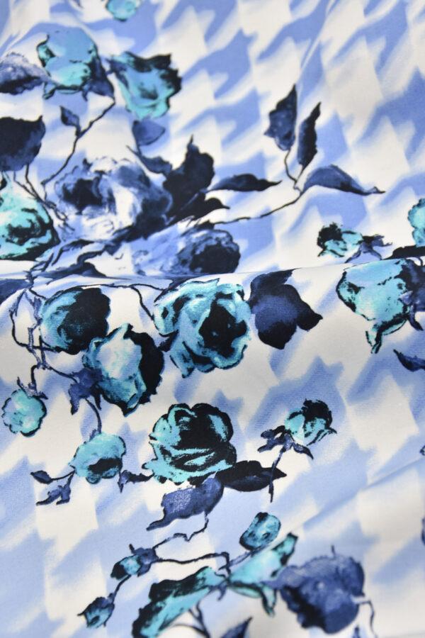 Хлопок стрейч цветы голубая куриная лапка (4460) - Фото 10