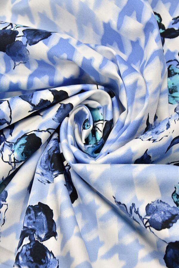 Хлопок стрейч цветы голубая куриная лапка (4460) - Фото 7