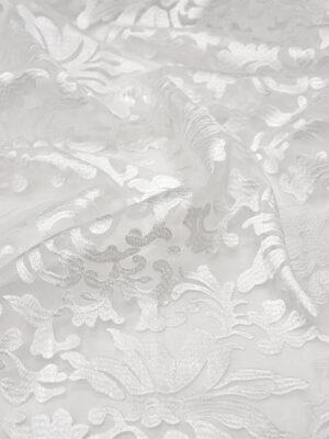 Органза с вышивкой филькупе цветочный узор белый (4396, 4465) - Фото 12
