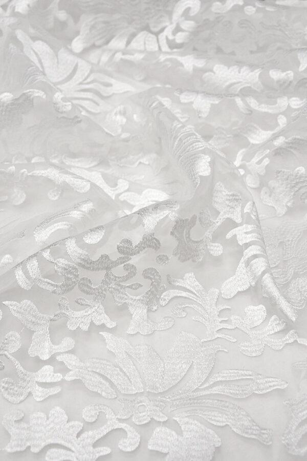 Органза с вышивкой филькупе цветочный узор белый (4396, 4465) - Фото 6