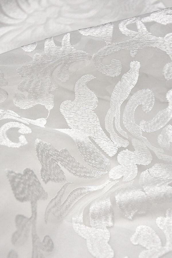 Органза с вышивкой филькупе цветочный узор белый (4396, 4465) - Фото 8