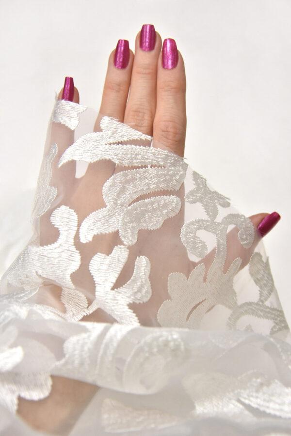 Органза с вышивкой филькупе цветочный узор белый (4396, 4465) - Фото 9