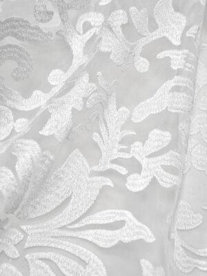 Органза с вышивкой филькупе цветочный узор белый (4396, 4465) - Фото 13