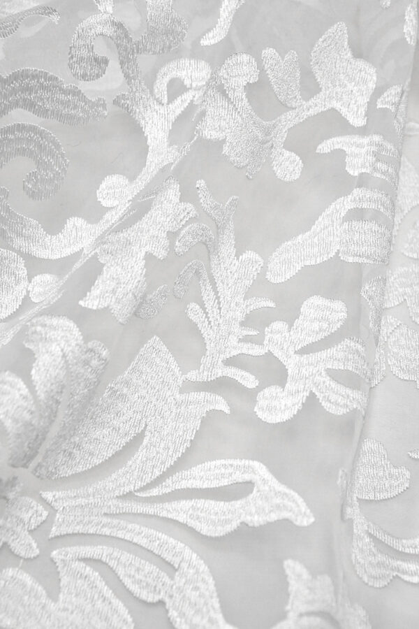 Органза с вышивкой филькупе цветочный узор белый (4396, 4465) - Фото 7