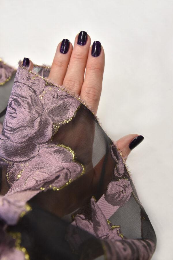 Органза с вышивкой черная розовые цветы (4476) - Фото 10