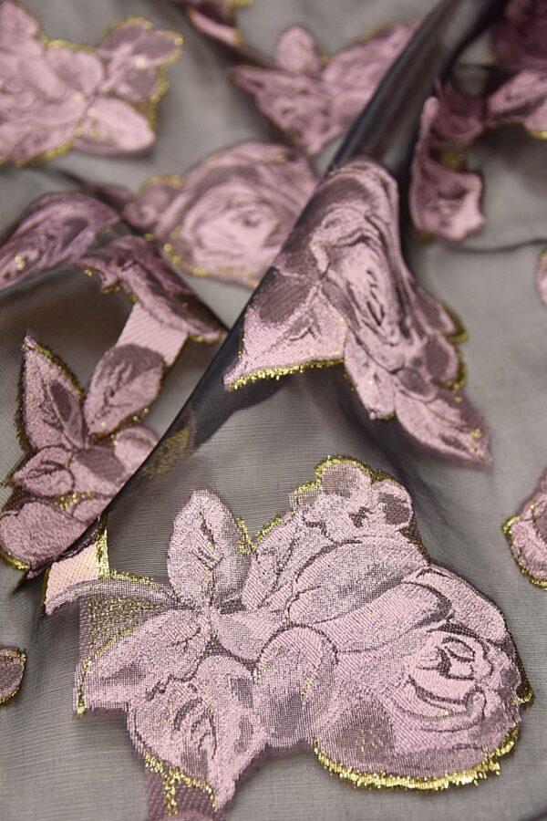 Органза с вышивкой черная розовые цветы (4476) - Фото 9